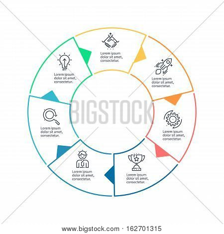 Circular chart, diagram with 7 steps, options. Vector design element.