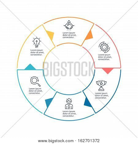 Circular chart, diagram with 6 steps, options. Vector design element.
