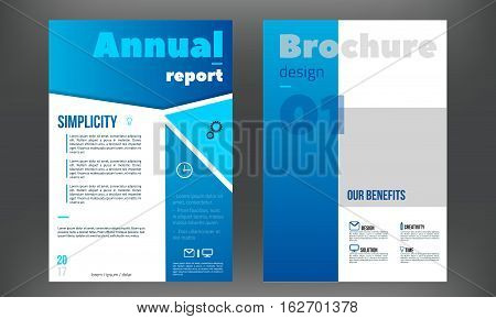 Blue brochure, booklet, book cover design templates collection. Vector illustration