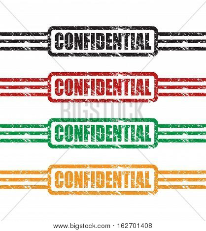 a set of four colourful confidential stamps