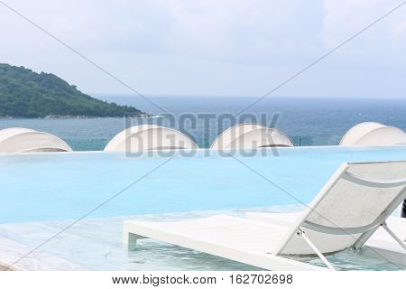 Beach Lounge Swimming Pool With Pool Bed Or Sundeck On Sea View For Vacation, Relax Vacation Time Wi