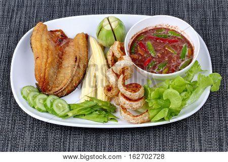 Ready Served Spicy Shrimp Paste Dip As  Nam Prik Kapi.