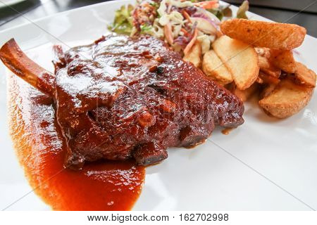 Closeup Grilled Pork Baby Ribs With Barbecue Sauce