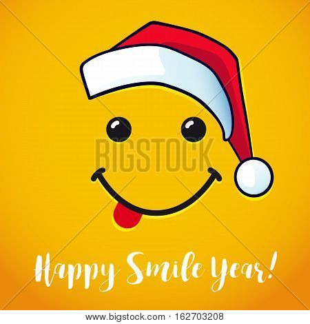 Vector design with smile in santa claus red hat and lettering