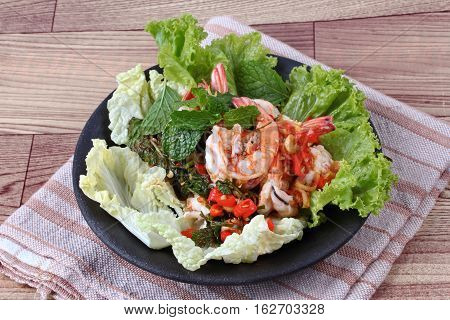 Spicy And Sour Mixed Herb Salad With Shrimp Served .
