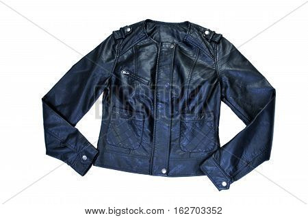 Black leather jacket. Women's clothes isolated on white