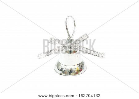 Isolated Silver Christmas Bell Toy On White Background
