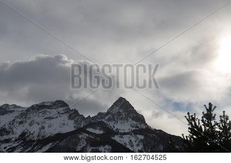 White Moutain Sunlight Clouds Alpine Snow Winter