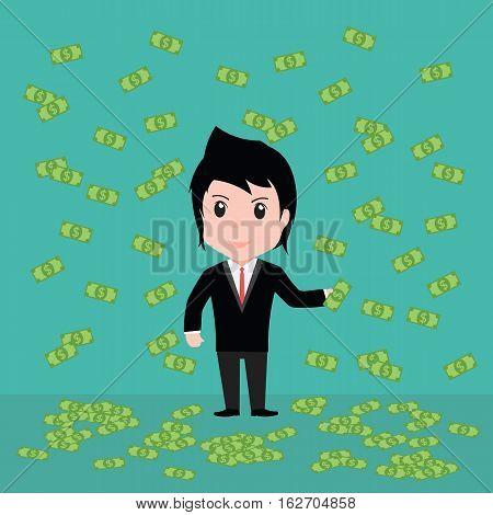 Many Banknotes, Business Man Have Many Banknotes