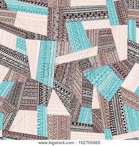 Seamless pattern of patchwork. Handmade. Ethnic and tribal motifs. Geometric elements on a white background. Ornament zentangl. Blue, brown and beige colors. Vector illustration.