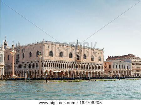 San Marco embankment and Doge palace at summer day, Venice, Italy
