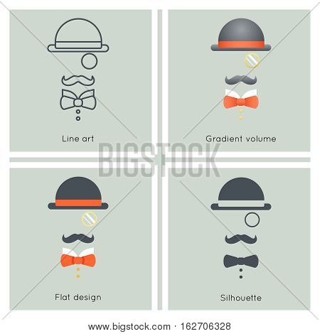 Gentleman Mask Disguise Victorian Hat Mustache Bow Monocle Businessman Retro Vintage Hipster Icon Great Britain Flat Design Line art Vector Illustration