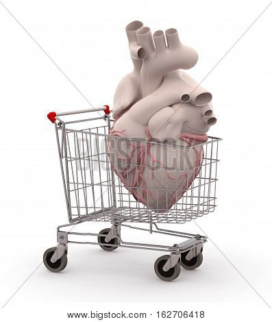 Human Heart In A Shopping Cart
