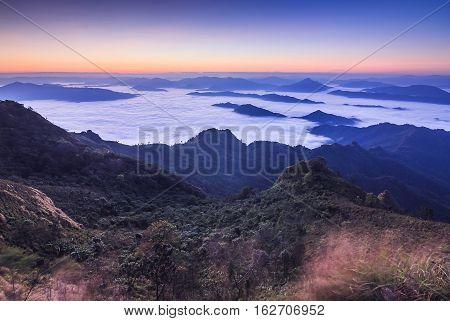 Sunrise, morning fog and the mountain,Phu Chi Dao