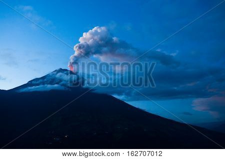 Tungurahua volcano explosion on November 2010 at dawn Ecuador