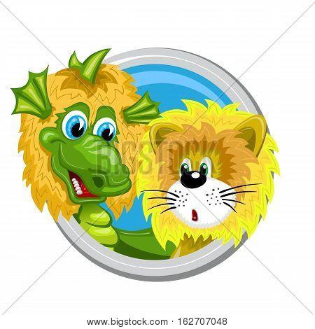 Leo. Zodiac sign. Horoscope. Dragon dressed like lion meets little lion