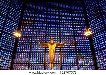 Berlin, Germany - july 1 2016: Interior of the Kaiser Wilhelm Memorial Church or Gedächtniskirche in Berlin, Germany