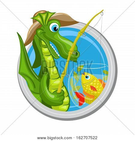 Pisces. Zodiac sign. Horoscope. Dragon fisherman is fishing in aquarium with fishes