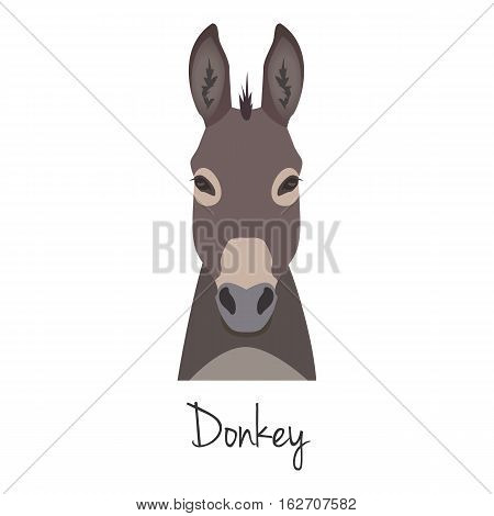 vector grey donkey head set isolated. Flat style, cartoon object. poster banner print advertising, design element.