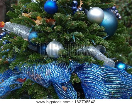 Holiday Decor is typical but this is an outdoor garden tree which is growing in numbers for both residential and commercial properties in the Dallas area.