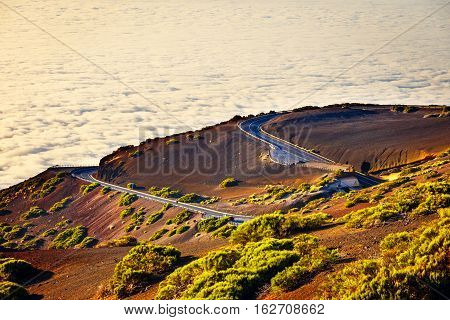 Route To El Teide Volcano At Sunset In Tenerife, Canary Island, Spain