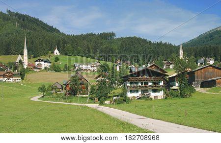 three Churches in Village of Gosau in upper Austria,Austria