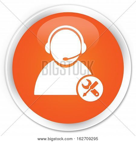 Tech Support Icon Premium Orange Round Button