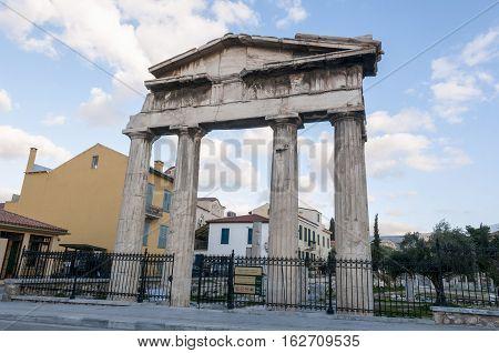 entrance of roman agora athens greece, sky