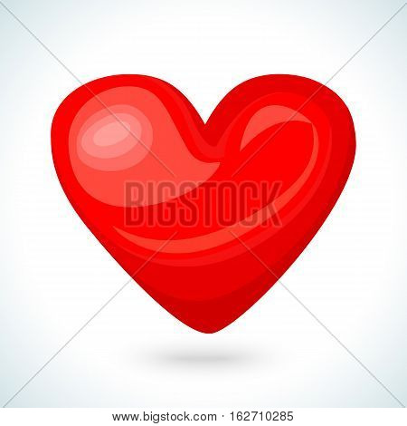 Cute shiny red heart icon isolated on white background. Vector illustration for valentine design. Chic sweet feminine invitation card. Lovely romantic decorative heart