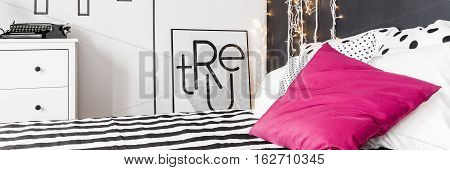 Elegant Bedroom With Pink Pillow