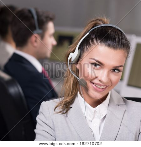 Employee Of Call Center With Headset