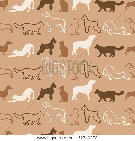 Animal seamless vector pattern of cat and dog color silhouettes
