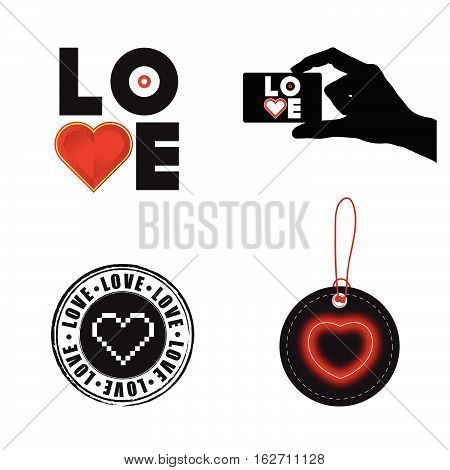 Love Heart Set Illustration On White Background