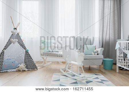 Friendly Baby Room Decor In White And Blue