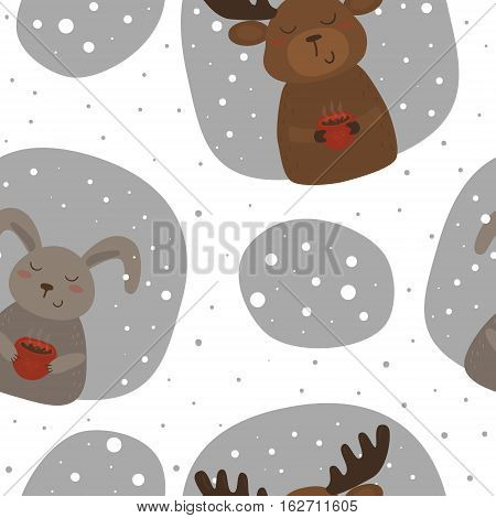 Vector pattern with rabbit and deer. Printable templates.