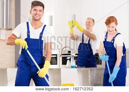 Handsome Cleaner With Friends