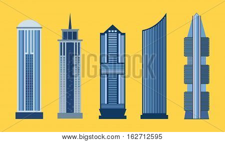 Skyscraper icon set isolated on yellow background. Vector illustration for architecture design. Business building exterior. Flat modern city office. High reflection glass center house