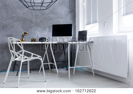 Modern Grey Room With  Computer On A Desk