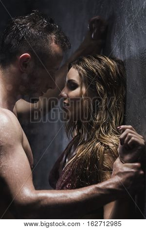 Naked Man And Woman In The Shower