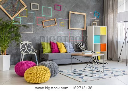 Colorful Poufs In Lounge