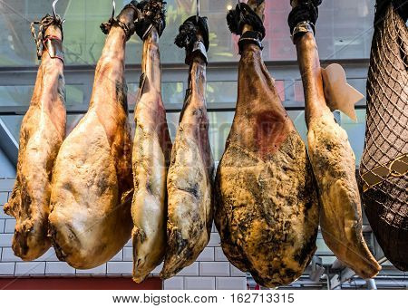 jamon on the market, Spanish traditional meat, Spain