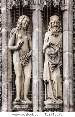 Nuremberg Cathedral Germany. St. Lawrence church decoration. Saints statues