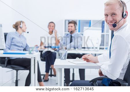 Smiled Male Telemarketer