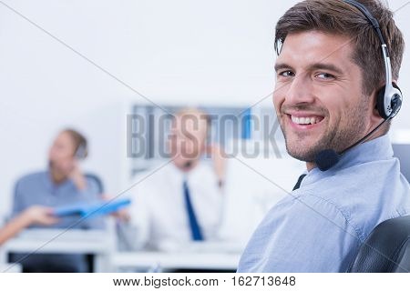 Relaxed And Confident Telemarketer