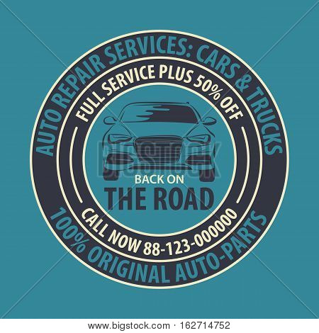 Colored Auto Repair Services Badge template. Car service label emblem vector illustration.