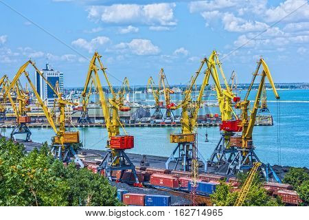 ODESSA, UKRAINE - MAY 2, 2016: Container terminal in Quarantine harbor of Odessa sea commercial port Ukraine.