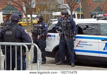New York, New York- December Twenty First: New York City Police Department Counterterrorism Bureau stationed at Union Square Christmas market. December 21st 2016, Union Square East between 14th and 15th Street, NYC