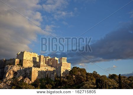 Parthenon temple on a bright day. Acropolis in Athens Greece