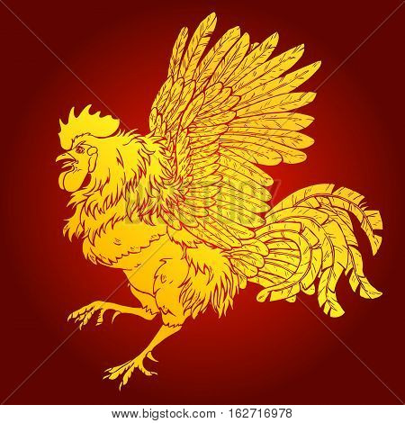 Pugnacius gold rooster on red background. Fiery red rooster symbol of the Chinese new year 2017. Vector illustration.
