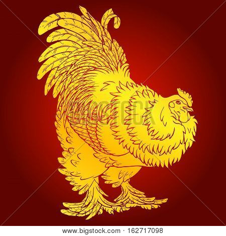 Reliable gold rooster on red background. Fiery red rooster symbol of the Chinese new year 2017. Vector illustration.